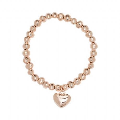 Simple Heart Charm Bracelet with Irregular Shaped Rose Gold Nuggets